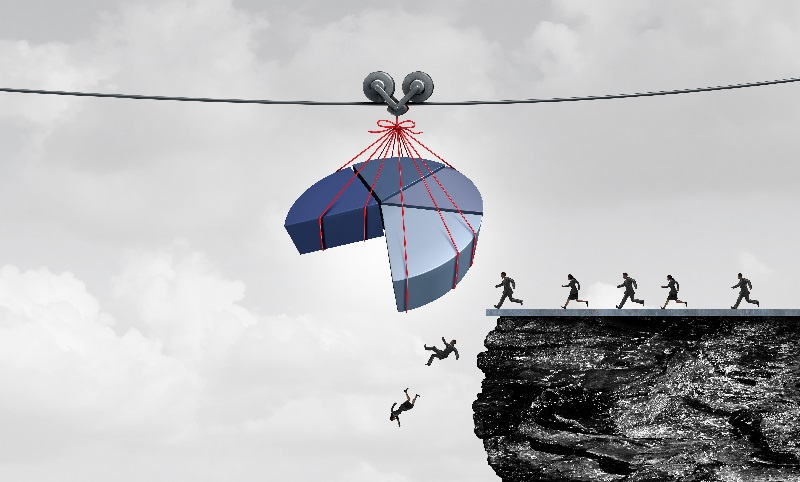Misleading statistics and financial misrepresentation as financial fraud or economic deception as people falling over a cliff due to fraudulent corporate data with 3D illustration elements.